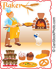 young red haired baker with white cat next to fire place and set of different bakery - bread, biscuit, cake, pizza, Easter cake.