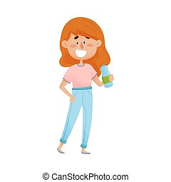 Young Red-haired Girl Character Standing and Drinking Still Water From Bottle Vector Illustration
