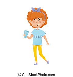 Young Red-haired Girl Character Standing and Drinking Still Water From Glass Vector Illustration