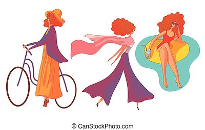 Young Red-haired Woman Cycling and Walking with Her Scarf Waving in the Breeze Vector Set