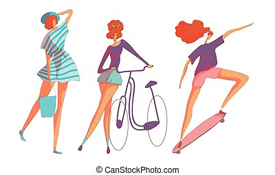 Young Red-haired Woman Skateboarding and Cycling Vector Set