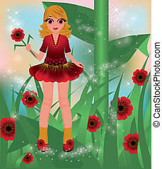 Young red poppy girl, vector