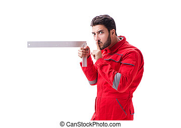 Young repairman with a square ruler isolated on white background