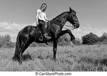 young riding girl