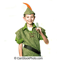 Young Robin Hood with sword isolated over white