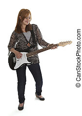 Young rock lady with an electric guitar