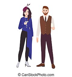 Young romantic couple dressed in elegant stylish clothes isolated on white background. Fashionable man and woman drinking champagne or cocktail at party. Colorful flat cartoon vector illustration.