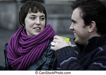 Young romantic London couple laughing