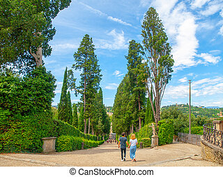 Young romantic pair in Boboli Gardens in Florence, Tuscany,...