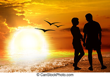 Young romantic pair on sea shore. - Young romantic pair on...