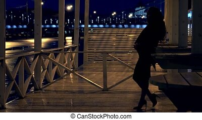 Young romantic woman standing on the terrace in Moscow park at night
