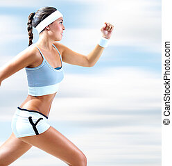 Young runner - Portrait of a girl running outdoor in summer...