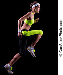 Young running woman isolated