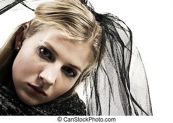 young sad blonde