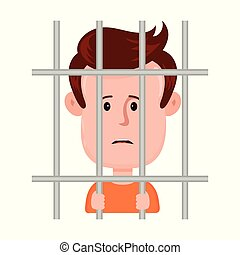 Young sad man prisoner behind bars,