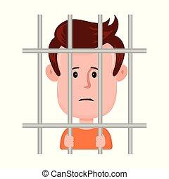 Young sad man prisoner behind bars,