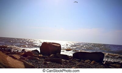 Young sad woman alone sitting on stone beach and looks in far afield