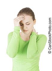Young sad woman have big problem ,depression or headache