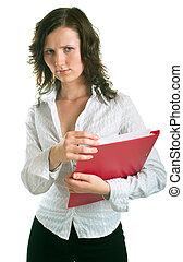 sad women with a folder