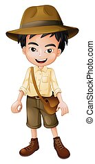 Young Safari Boy on White Background