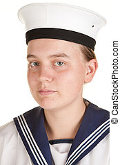young sailor isolated white background