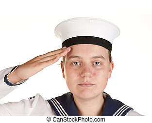 young sailor saluting isolated white background
