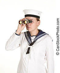 young sailor with binoculars isolated white background