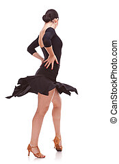 young salsa woman dancer in action - back view of a young...