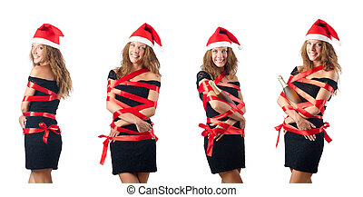 Young santa on white background