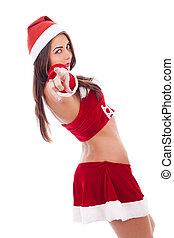 Santa woman pointin