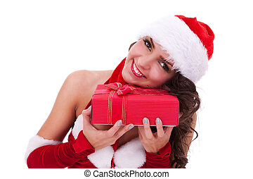 young santa woman with gift