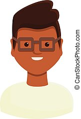 Young scientist icon, cartoon style