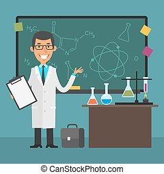 Young scientist points to chalkboard and smiling