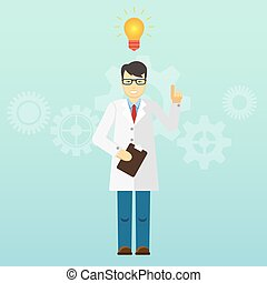 Young scientist professor got an idea. Startup