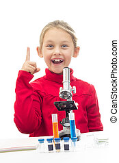 Young scientist showing the index finger