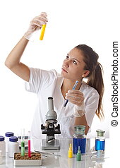 Young scientist woman working