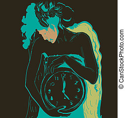 Young scrawny woman with big clock in hands. Vector illustration.