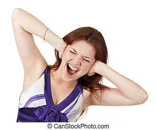young screaming girl holding her head