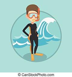 Young scuba diver vector illustration.