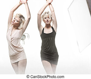 Young sensual blonde woman in different pose
