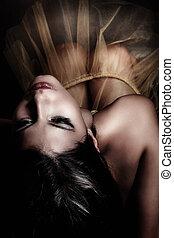 sensual woman - young sensual woman, studio shot, small...