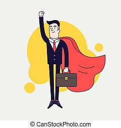 Young serious businessman superhero flying with leather briefcase and red cloak. Businessman with leadership skills