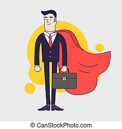 Young serious businessman superhero with leather briefcase...