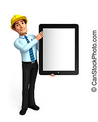 Young Service Man with tab - Illustration of service man...