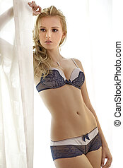 Young sexy blond in sexy lingerie - Young sexy blond woman...