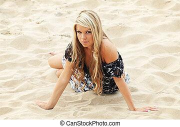 Young sexy girl crawling