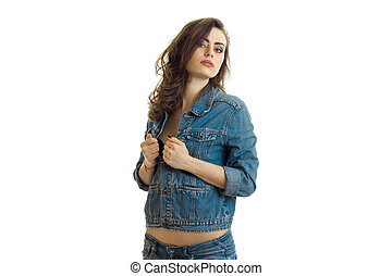 young sexy girl poses on cam in jeans jacket