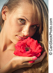 young sexy girl with red flower #1