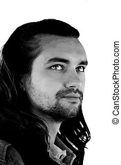 Young sexy guy with long hair black-white - Young sexy...
