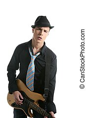 young sexy male guitar player, tie and black hat